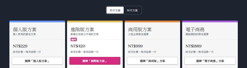 WordPress.Com方案,月繳229元~1899元。